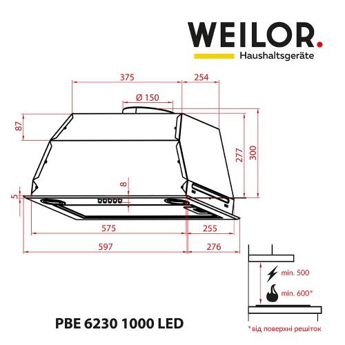 Вытяжка полновстраиваемая WEILOR PBE 6230 SS 1000 LED