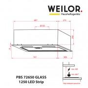 Вытяжка полновстраиваемая WEILOR PBS 72650 GLASS BL 1250 LED Strip