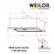 Вытяжка полновстраиваемая WEILOR PBSR 52301 GLASS WH 1100 LED Strip